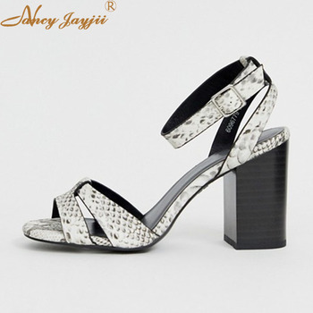 Women Shoes Ladies Sandals Solid Ankle Strap Buckle Wedding/Party Super High Square heels Elegant Fashion Basic Nancyjayjii 2019
