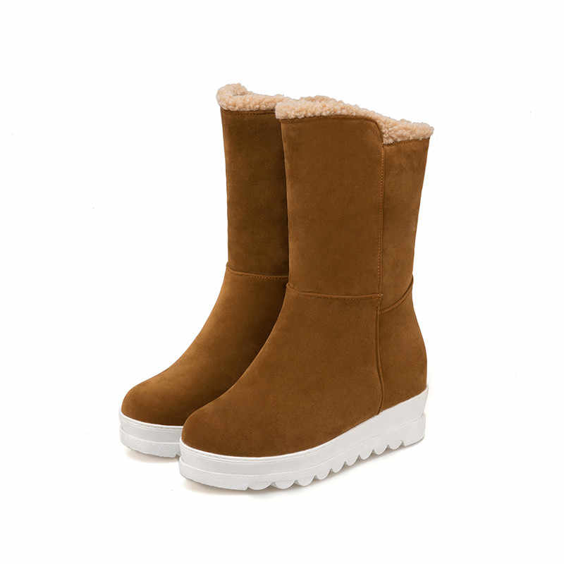 MEMUNIA 2019 yeni varış yarım çizmeler kadın akın yuvarlak ayak rahat platform ayakkabılar üzerinde kayma sıcak kar botları tutmak antiskid