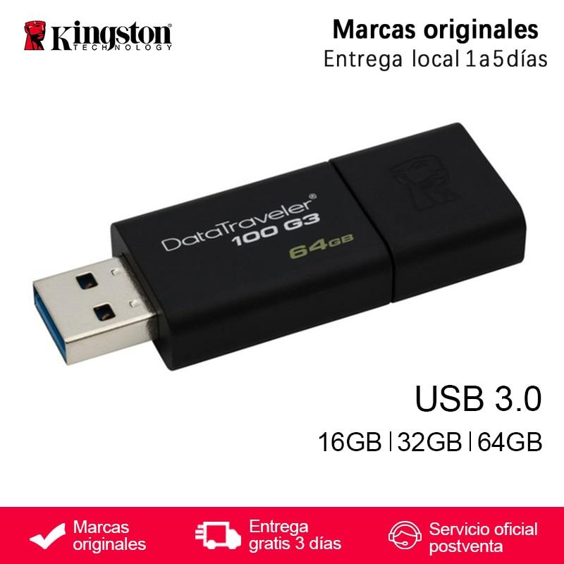 Original de alta velocidad USB 3,0 de Kingston DataTraveler Flash Drive 16 GB 32 GB 64 GB 16 GB 32 GB 64 GB de memoria pendrive Stick Pen Drive DT100G3