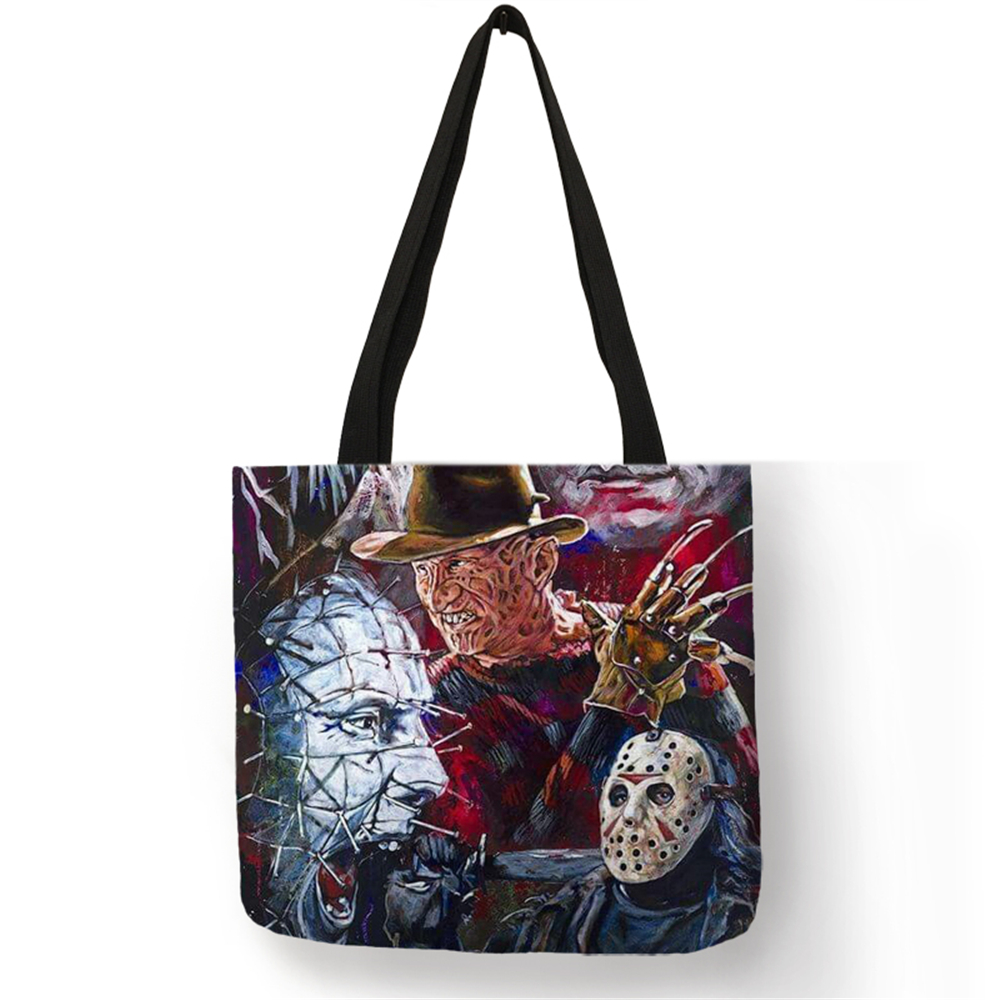 Customized Tote Bags For Women Horror Movie Characters Freddy Chucky Linen Bag  With Print eco Reusable Shoping BagsCustomized Tote Bags For Women Horror Movie Characters Freddy Chucky Linen Bag  With Print eco Reusable Shoping Bags