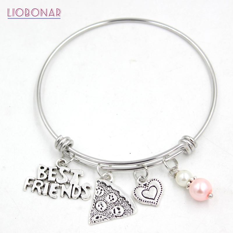 1PC Stainless Steel Jewelry Adjustable Wire Bangle Friendship Bracelet Best Friends Pizza Bracelets Best Friends Gift BFF bangle