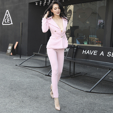 Очень Сексуальная Розовый Женщины Устанавливает Тонкий Тип Двубортный Топ и Брюки Дизайн Кнопки Карманы с Подплечники