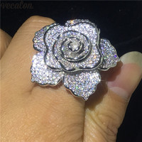 Vecalon Big Flower Promise ring Silver AAAAA Cz Charming Engagement wedding band rings For women Bridal Finger Jewelry
