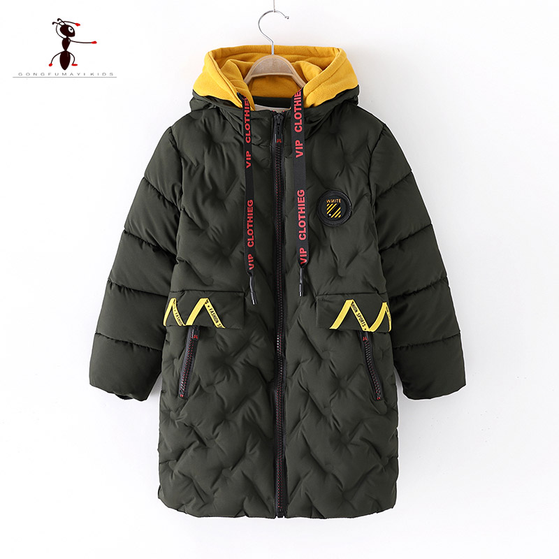 купить 2018 Kung Fu Ant Hooded Winter Warm Thick Short Black Long section Cotton Coat for Boys Hot Outerwear in Cold Russia 3271