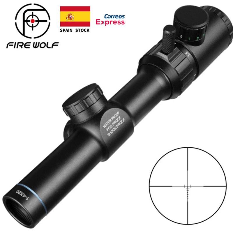FOGO LOBO 1-4x20 Range Finder Reticle Rifle Scope Red Green Iluminado Riflescope Mira Óptica Rifle Scope Rifle de Ar de Caça