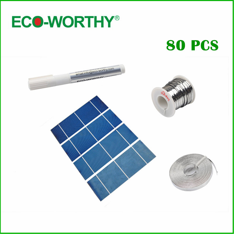80PCS High power 2X6 solar cell full kit flux pen tab wire bus wire free shipping