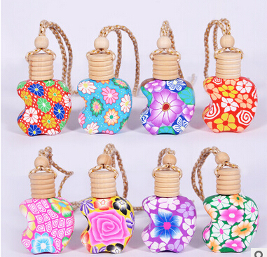 High Quality 12ML 15ML Mix Style Polymer Clay Car Perfume Hanging Bottle with Wooden Cork 100PCS