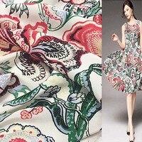 Bohemia style floral silk Crepe DE chine silk fabric big flower print 16momme 137cm width by yard,SCDC625
