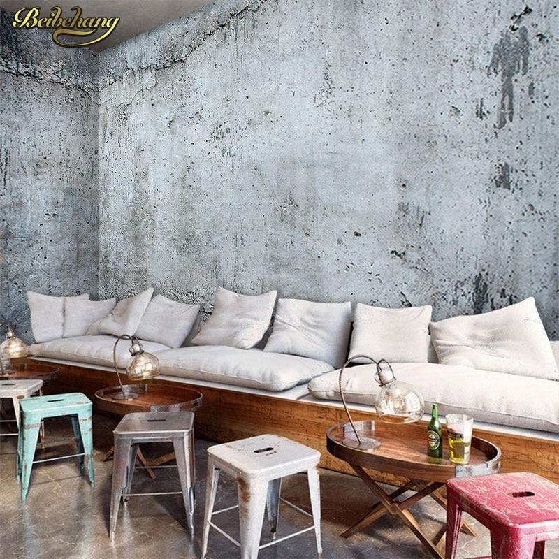 Купить с кэшбэком beibehang Stereo Retro Concrete Wall Wallcovering Cafe Milk Tea Shop Leisure Bar Industrial Wind Decorative Background Wallpaper