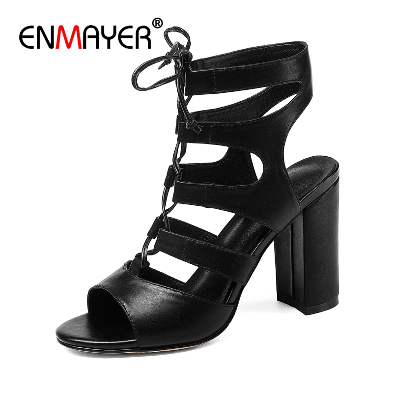 ENMAYER  Casual  Lace-Up  Gladiator Sandals Women  Sandalias Mujer 2018  Women Sandals  Sandalia Feminina  Size 34-40  ZYL2632
