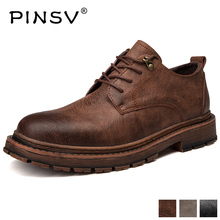 Купить с кэшбэком Brand Men Genuine Leather Casual Shoes New Retro British Style Men Shoes Fashion Lace Up Casual Shoes PINSV