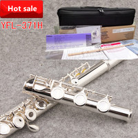 100% Japan flute 371H 16 hole E key closed hole C Tune Silver Plated flute professional music instrument flauta transversal ,box