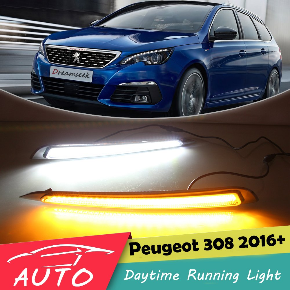 DRL For <font><b>Peugeot</b></font> <font><b>308</b></font> 2016 2017 2018 <font><b>LED</b></font> Car Daytime Running <font><b>Light</b></font> Waterproof Driving Fog Lamp Daylight With Turn Signal image