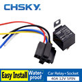 1 piece Waterproof automotive relay 12v 5pin 40A car relay with black red copper terminal auto relay with relay socket