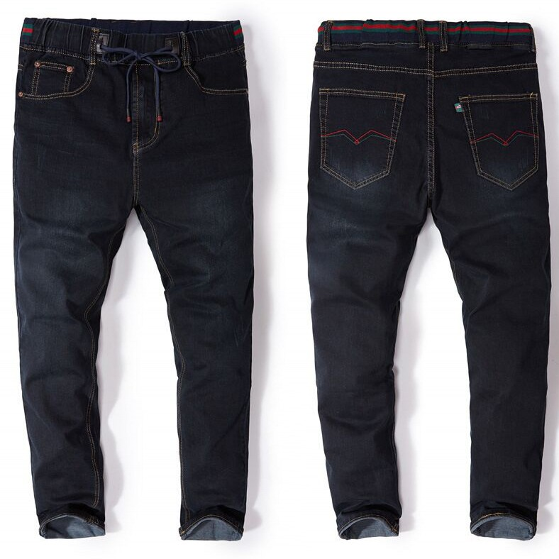 7XL plus Size High Waist Long Trousers Elastic   Jeans   Straight Trousers Spring Drawstring Male Soft Denim baggy Pants 150 kg