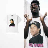 American West Coast Skateboard Short Sleeve T Shirt Man High Street Ice Cube People Portrait Print