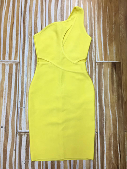 High Quality Sexy One Shoulder Yellow Key Hole Rayon Bandage Dress 2020 Celebrity Designer Fashion Party Dress Vestido 5