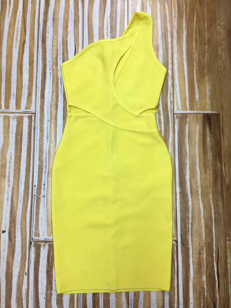 High Quality Sexy One Shoulder Yellow Rayon Bandage Dress 2019 Celebrity Designer Fashion Party Dress Vestido