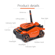 RC Tank with HD Camera ATTOP YD-211 Wifi FPV 0.3MP Camera App Remote Control Spy Tank RC Toy Phone Controlled Robot