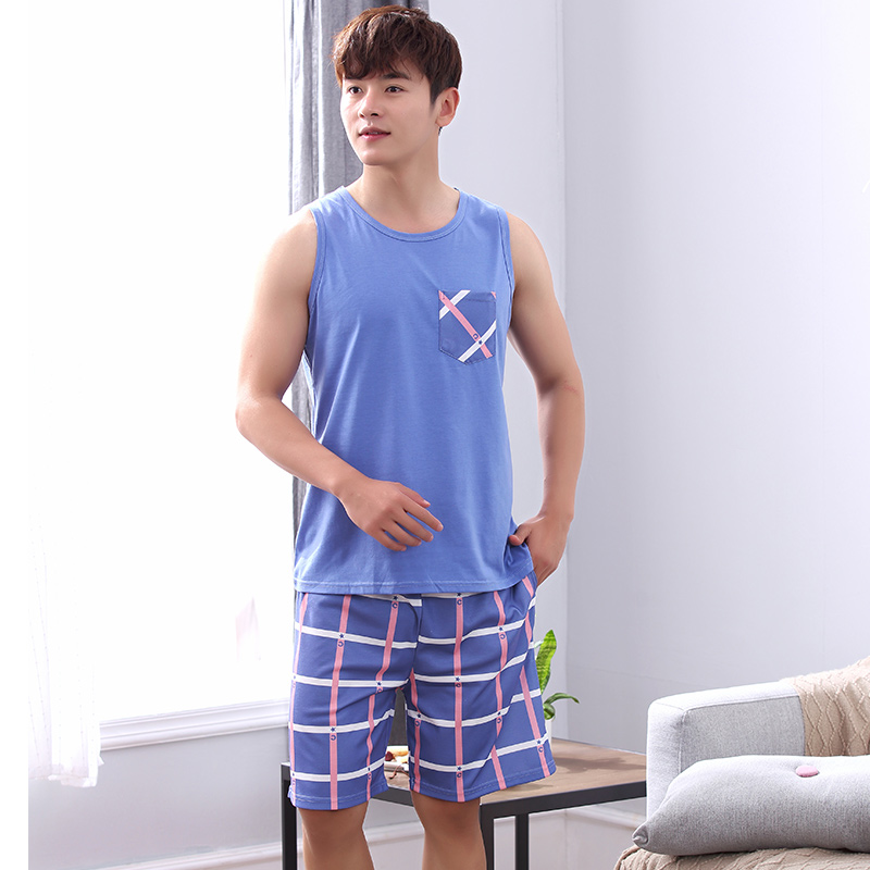 Summer Pyjamas Men Print Casual Plus Size Cotton Sleepwear Mens Lounge Wear Loungewear Pajamas Plus XXXXL ...