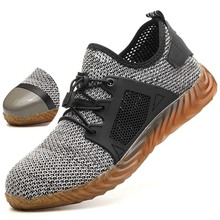 Men And Women Steel Toe Protective Air Breathable Mesh Safety Boots Men Light Sneakers Indestructible Anti-piercing Work Shoes