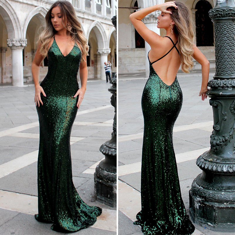 Emerald Green Sequins Mermaid Prom Gowns Sexy V Neck Backless Evening Gown Spaghetti Strap Floor Length