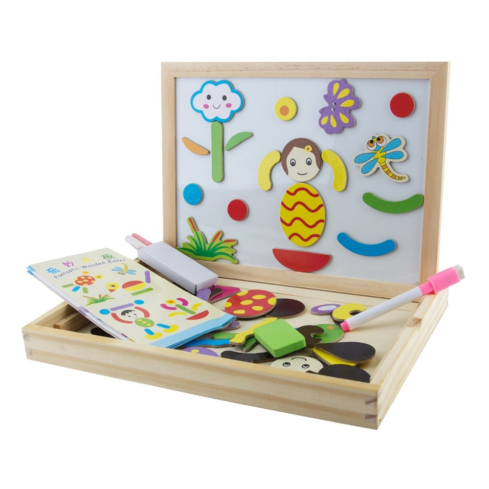 Fantastic Wooden Double Side Drawing Board Early Multifunctional Jigsaw Puzzle Game Toy Set For Boys & Girls 3-6 Years
