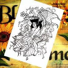 Black Koi King Chinese style Temporary Body Arts, Flash Tattoo Stickers 21*15cm, Waterproof Henna Tatoo Sex Products