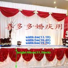 400 см(L)* 80 см(H) белый свадебный стол юбка с ярко красный стол SWAG банкет партия Таблица Хабар покрытие стола Свадебные украшения