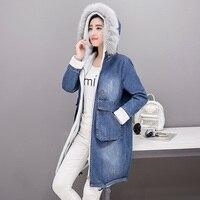 Denim Jacket Coat Parka Women Winter Jackets Natural Fur Collar Hoooded Fleece Warm Outwear Overcoat Snow