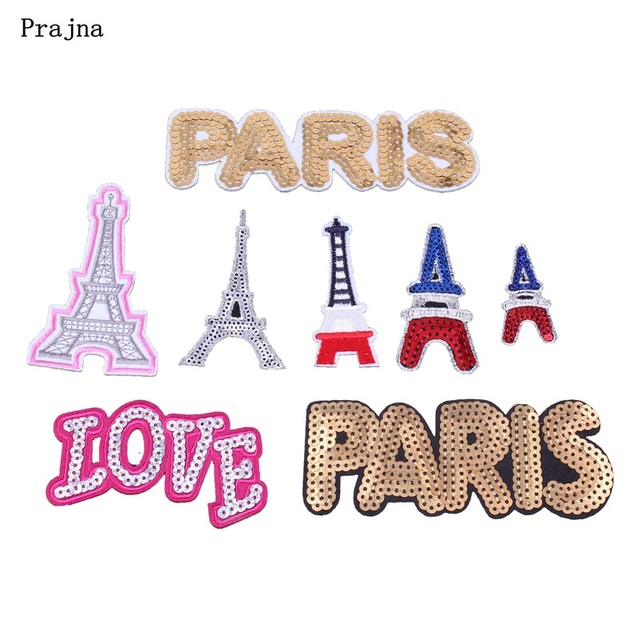 Prajna Paris Eiffel Tower Patch Iron On Cute Patches Sequins Cheap Embroidered Love For Clothes