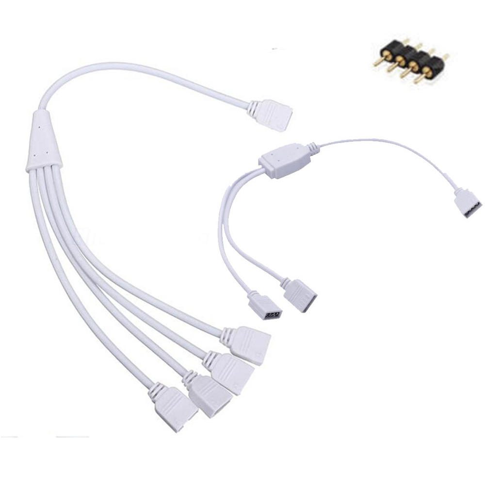 4pin Extension RGB RGBW connector 1 to 2/3/4 Female Connector Splitter Extend Wire Cable Cord for 3528 5050 RGB LED strip light rgb 4 pin wire connector 1 to 2 1 to 3 1 to 4 female to female splitter connector extension cable for 3528 5050 led strip light
