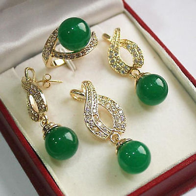 Nobility Woman natural Jewelry 12mm Green gem Pendant Necklace Earrings Ring set Grad silver jewelry