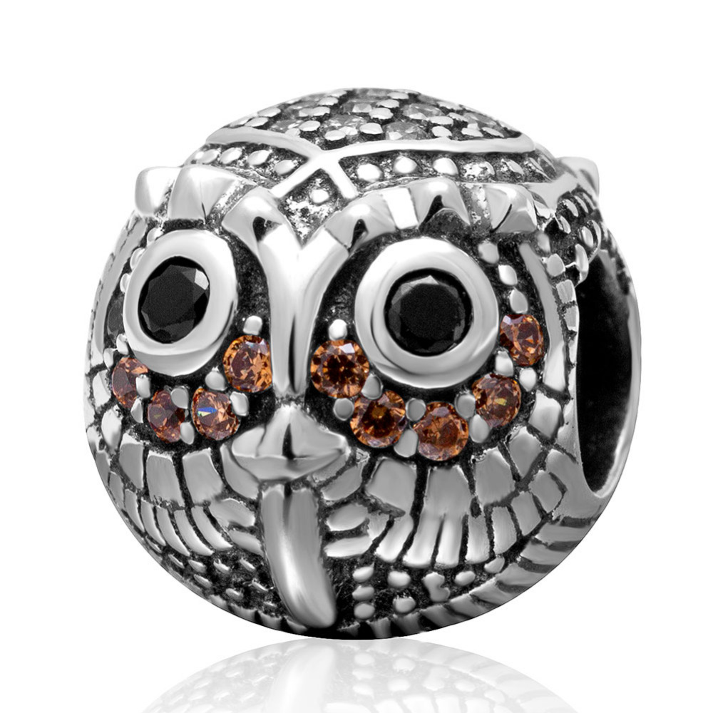 Authentic 925 sterling silver Owl Charms with Cubic Zriconia DIY Beads Fit Pandora Charm Bracelets Fashion Jewelry