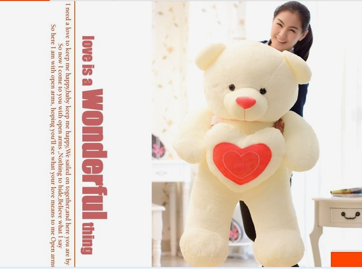 The lovely hug bear doll teddy bear with love heart plush toy doll birthday gift red about 120cm new creative plush bear toy cute lying bow teddy bear doll gift about 50cm