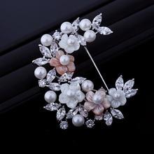 Joyería nupcial Blanco y Rosa Perla Flor la mitad Corona broche de Plata Del Tono Marquise CZ Hoja Racimo flores Semi Círculo Pin