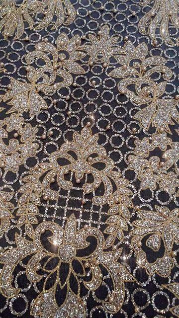 hot selling french net lace fabric with gold glued glitter fashion  David-61205 glitter african 7e1b097ce80b