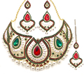 De lujo imitado joyería de perlas establece 2017 circón africano choker collar para las mujeres bodas nupcial apenas siente joyería