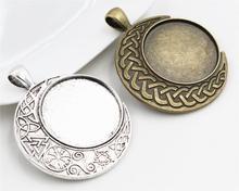 Новая мода 5 шт. 25 мм внутренняя Размеры старинное серебро и бронза барокко Стиль кабошон База установка Талисманы кулон