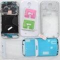 Frente Outer Lente de Vidro Para Samsung Galaxy i9500 S4 Completa Porta Quadro Tampa da caixa de Volta Caso Adesivo Livre de vidro Temperado branco