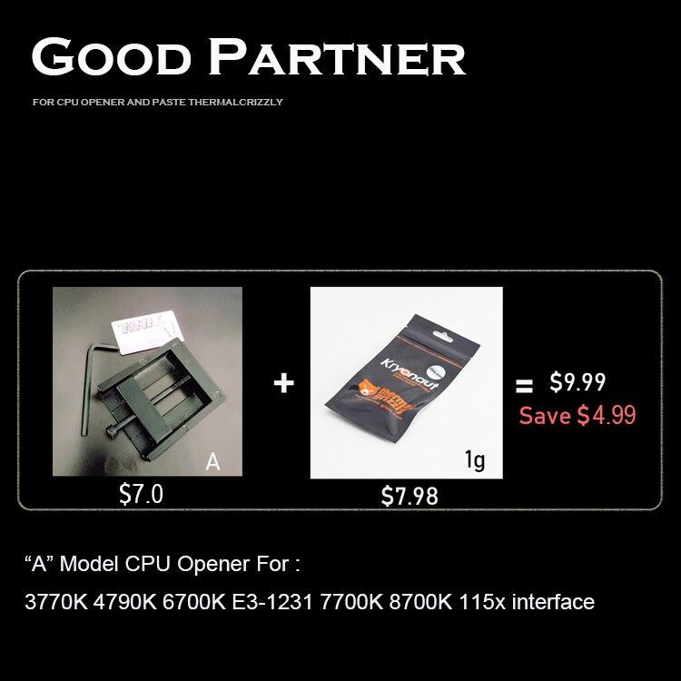 CPU cap opener für 115x x299 2066 und thermische grizzly kryonaut kühlkörper 7800x 7820x 7900x artefakt 7740x7920x2066 interface