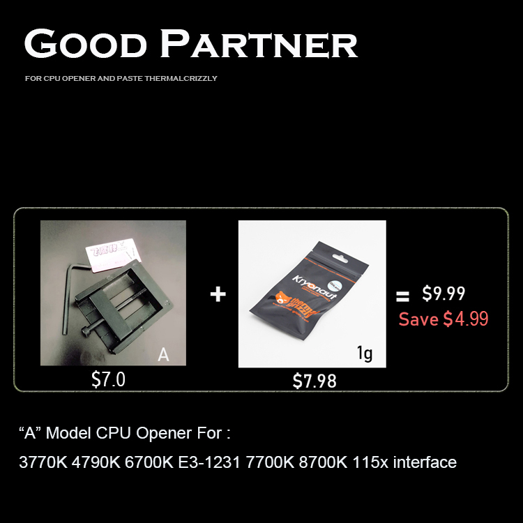 CPU cap opener for 115x x299 2066 and thermal grizzly kryonaut heatsink 7800x 7820x 7900x artifact 7740x 7920x 2066 interface