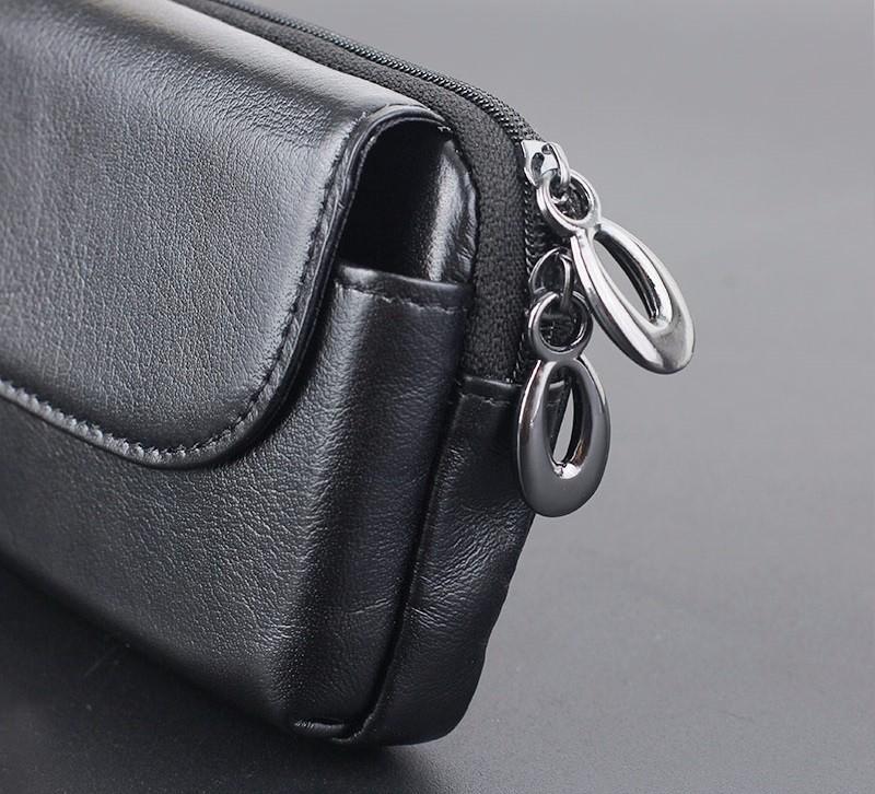 Black genuine leather belt clip pouch bag case (4)