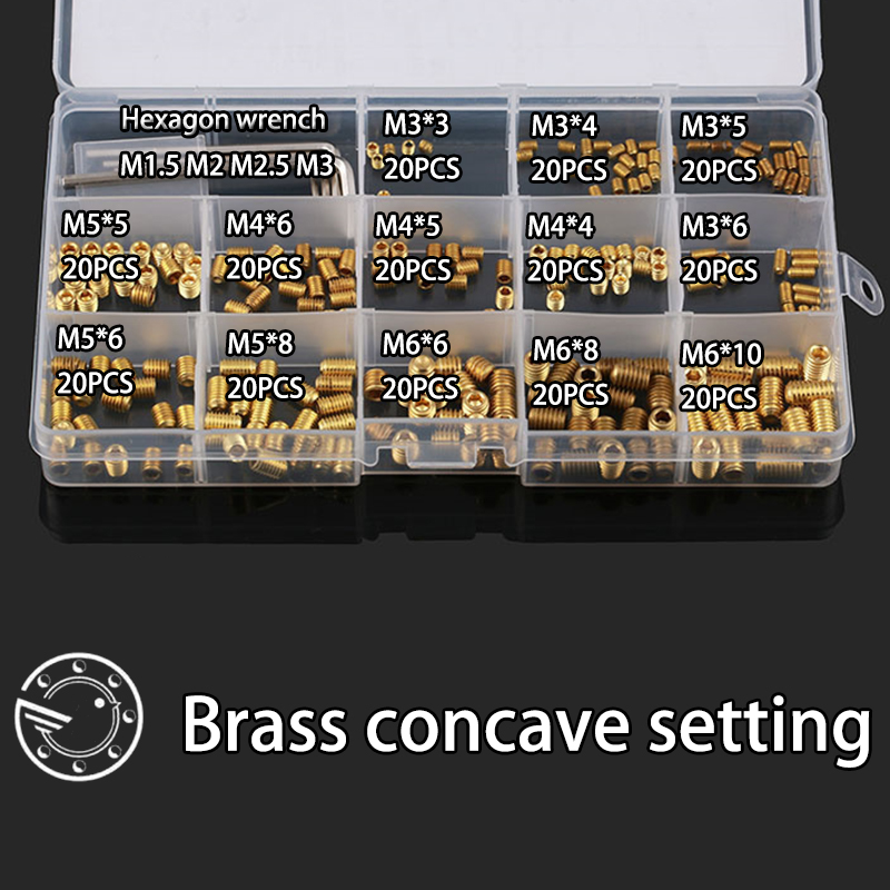 260Pcs M3 M4 M5 M6 Brass Metric Thread Grub Screws Flat Point Hexagon Socket Set Screws Headless Assortment Kit 50pcs lot din913 m2 m2 5 m3 m4 m5 304 stainless steel metric thread grub screws flat point hexagon socket set screws headless