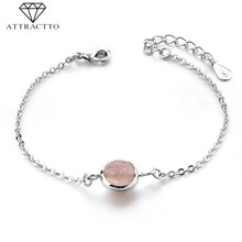 ATTRACTTO S925 Pink Bead Charms Bracelets&Bangles For Women Distance Bracelets Friendship Crystal Rosary Cuff Bracelet SBR190144(China)