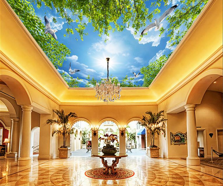 custom 3d ceiling Blue sky and white clouds 3d ceiling murals wallpaper for bedroom 3d ceiling wallpapers for living room custom photo 3d ceiling murals wallpaper sky white clouds dove leaves decor 3d wall murals wallpaper for living room painting