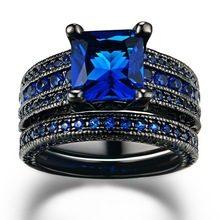 Fashion Ocean Blue Crystal Square Pair Rings For Couple Lovers 2 Pcs/lot Romantic Engagement His and Her Love Promise Ring Set
