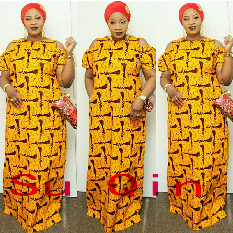 Fashion Brand Loose Women Maxi Dashiki Dress Bazin Print Elastic African Style Plus Size Femmes Vestidos (LJ#)