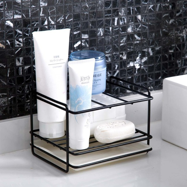 Soporte de esponja OTHERHOUSE para drenaje de jabón, estante de almacenamiento, organizador de fregadero de cocina, soporte de cepillo de trapo, estante de hierro, organizador de baño 6