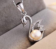 Korean fashion Little Swan Pendant Jewelry Wholesale S925 Sterling Silver Freshwater Pearl Necklace Necklace